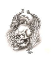 Skull and dragon by TattooBiker
