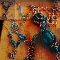 Blue Dragon Necklace -SOLD- by MoPotter
