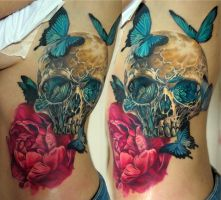 skull and butterflies tattoo WIP by NikaSamarina