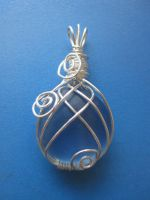 Blue Wire Wrapped Pendant by lalalura
