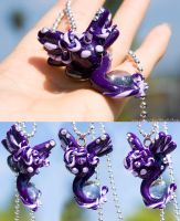 Baby Jewel Dragon *Violet* Necklace by IvrinielsArtNCosplay