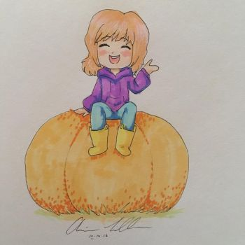 Inktober day 14, pumpkin! by Ari-Star14