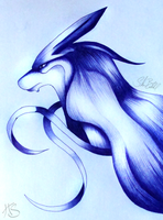 Suicune Sketch by Miss-HyperShadow