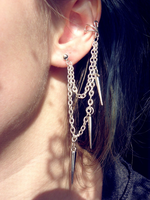 Silver spikes Ear Cuff by ShirNek0