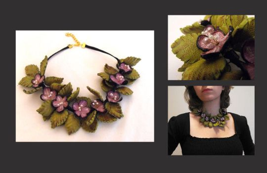 Lilac Leather Floral Necklace by julishland