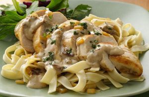 stuffed mushroom chicken over noodles by standbyme21