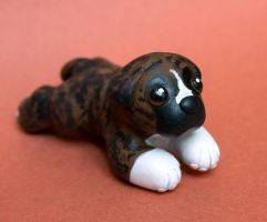 Brindle Boxer puppy dog sculpture by SculpyPups