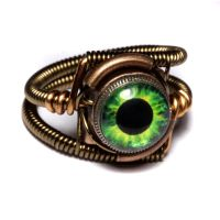Steampunk Green Plasma eye Ring by CatherinetteRings