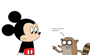 Rigby tells to Mickey where is Haunted Mansion by ElMarcosLuckydel96