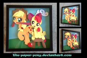 Commission:  AJ and Applebloom Shadowbox by The-Paper-Pony