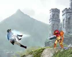Smash Bros. Link vs. Samus by RobAndersonJr