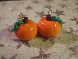 Polymer Clay Pumpkin Earrings by XxSierraRose