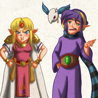 Grumpy Zelda and Ravio by Zeepla