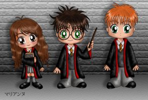 Chibi Potter and Friends by lilpurpleperson
