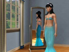 Sims 3 - Human Kitty Katswell in mermaid costume 2 by Magic-Kristina-KW