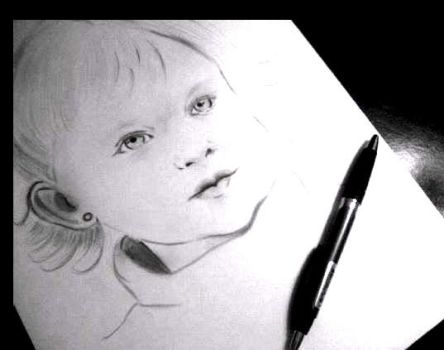 Girl portrait in pencil by Ana1artistaplastica