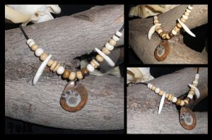 Ammonite Fossil Choker with Coyote Canines (SOLD) by Shamans-Yoik