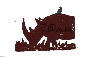 Rhino Lino Print 1 by lonesomeaesthetic
