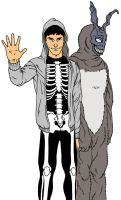 Donnie Darko and Frank by silentsketcher