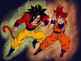 Super Saiyan 4 vs Super Saiyan God by delvallejoel