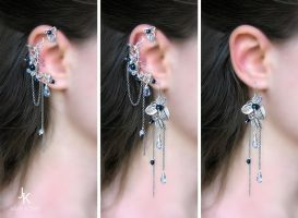 Rain at dawn ear cuff with upper wrap and earrings by JuliaKotreJewelry