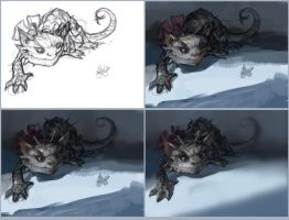 an alien pet sketch. stages. by dron111