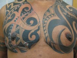Tribal chest scar cover up by madamelazonga