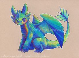 Rainbow Toothless by opalchan