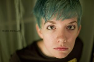 blue hair brown eyes by Tommy8250
