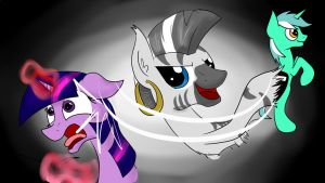 Zecora slapping Twilight with a Lyra by ChickenSteve