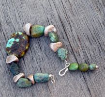 yellow turquoise bracelet by merpagigglesnort