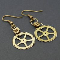 Steampunk Jewelry Brass Gear Earrings by Tanith-Rohe