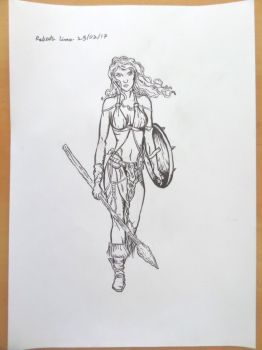 Celtic Woman Warrior Drawing by betopyt