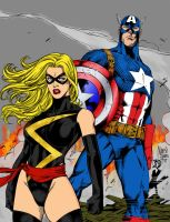 Ms. Marvel and Captain America by jmascia