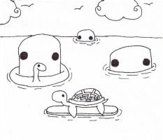 turtle with a surfboard by bluekerbe