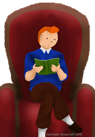 Tintin-reading (animated) by 13cupcakes