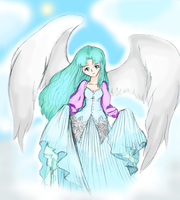 Mia as an angel coloured by Sally78