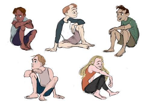 Sketchy Sitting Poses by Dazzielle