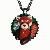 Red Panda Pop-out Necklace by LeiliaK