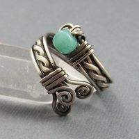 Amazonite + Sterling Adj Ring by sylva