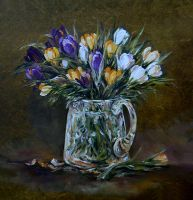 Crocus in glass vase by radina