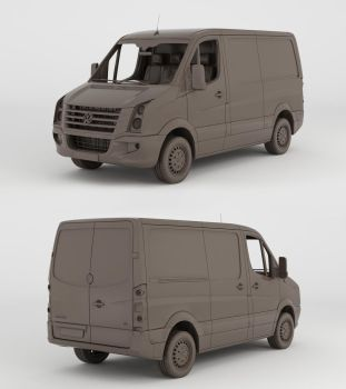 Volkswagen Crafter 2013 Clay Render by 3Dstate