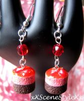 Chocolate Strawberry Earrings by xXSceneStyleXx