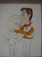 Woody and Jessie cuddling Painting (unfinished) by spidyphan2