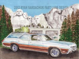 1971 Oldsmobile Vista Cruiser At Mt. Rushmore by FastLaneIllustration