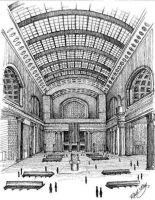 Chicago Union Station Pen Drawing by RMoy-Art