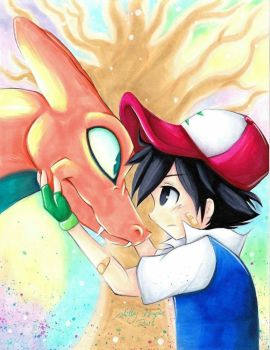 Ash and Charizard by SilverDreams7