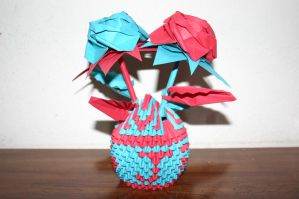 3D Origami Twin Roses with Customized Basket by CrystallizedJello