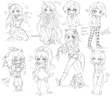 Commish Sketchdump by Candy-DanteL