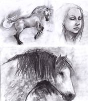 charcoal sketches by GreenSprite